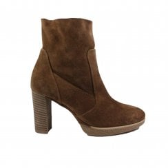 8058-00 Tan Suede Leather Womens Heeled Ankle Boots