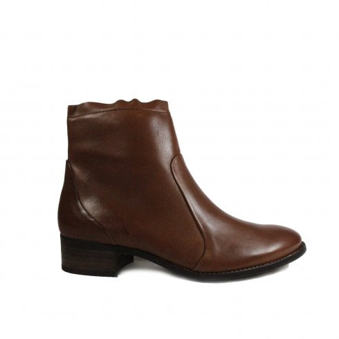 Paul Green 8063-00 Brown Leather Womens Smart Zip Up Boot