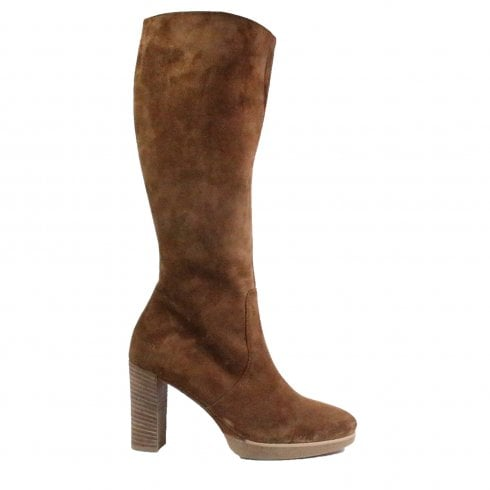 Paul Green 8067-01 Tan Suede Leather Womens Heeled Long Leg Boot