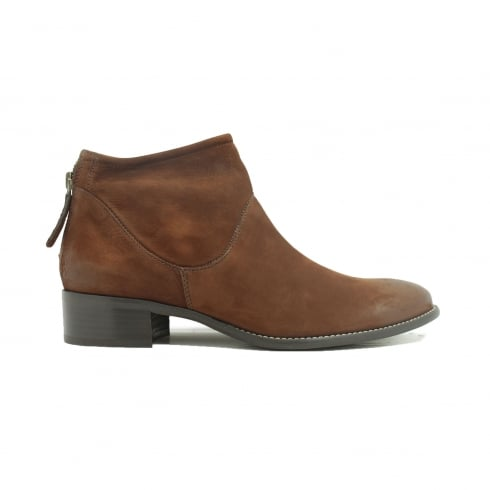 Paul Green 8086-14 Brown Suede Leather Womens Smart Ankle Boot
