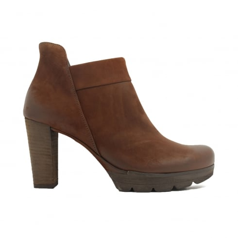 Paul Green 8217-10 Brown Nubuck Leather Womens Heeled Ankle Boot - UK 7