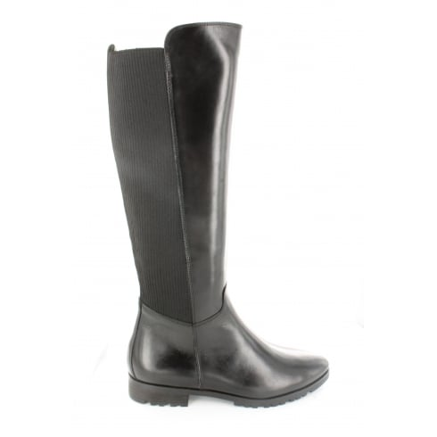 8764-01 Black Suede Leather Womens Long Leg Boot