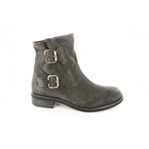 PAUL GREEN 8783-00 Grey Suede Leather Womens Biker Ankle Boot
