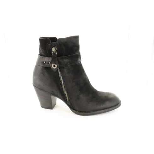 Paul Green 8831-00 Black Suede Leather Womens Heeled Ankle Boot