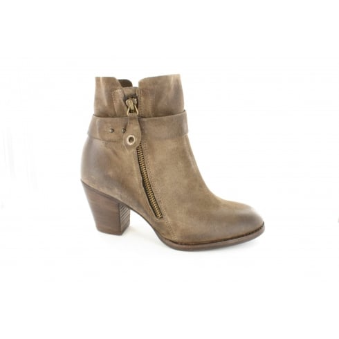 Paul Green 8831-03 Brown Suede Leather Womens Heeled Ankle Boot