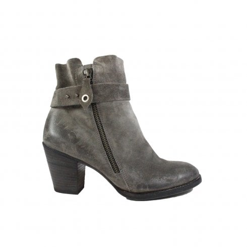 Paul Green 8831-04 Grey Suede Leather Womens Heeled Ankle Boot
