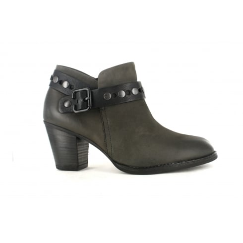 Paul Green 8834-00 Grey Leather Womens Heeled Ankle Boot