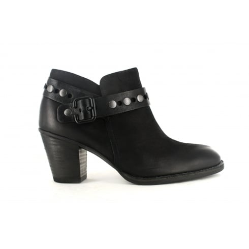 8834-01 Black Leather Womens Heeled Ankle Boot