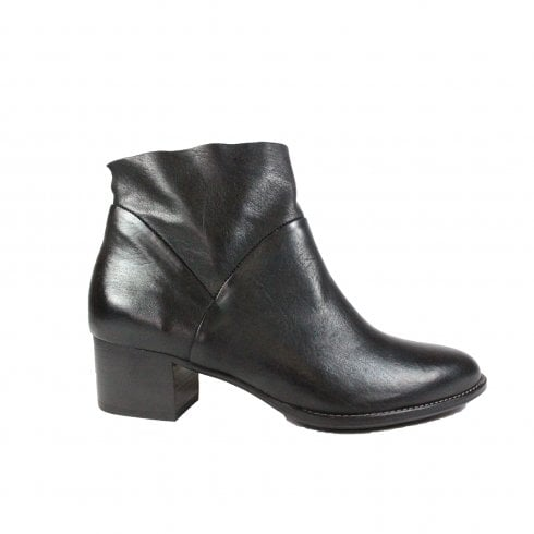 Paul Green 8847-11 Black Leather Womens Zip Up Ankle Boot