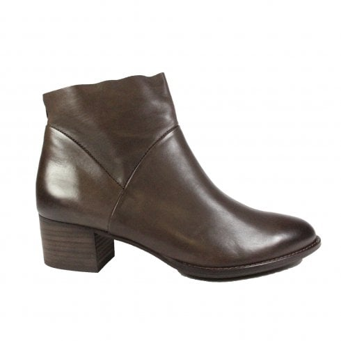 Paul Green 8847-17 Brown Leather Womens Ankle Boot