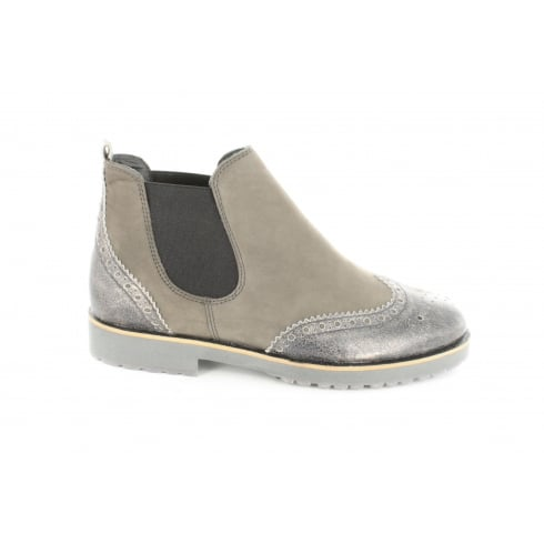 PAUL GREEN 8904-03 Grey Nubuck Leather Womens Pull On Chelsea Boot