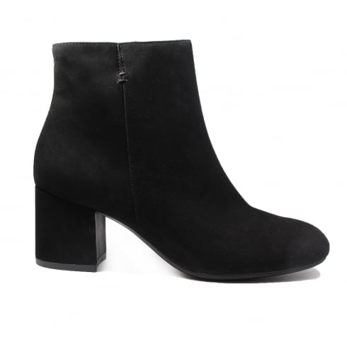Paul Green 8997-01 Black Suede Leather Womens Heeled Ankle Boot