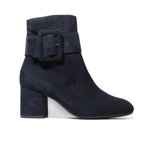 Paul Green 9075-01 Navy Suede Leather Womens Heeled Smart Zip Up Boot