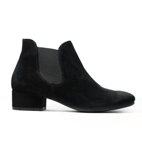 Paul Green 9161-01 Black Suede Leather Womens Pull On Chelsea Boot