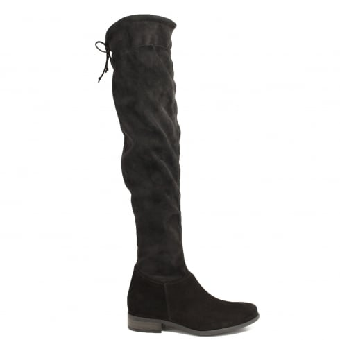 Paul Green 9172-00 Black Suede Leather Womens Over The Knee Boot