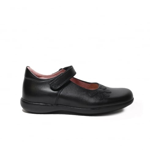 Petasil Bonnie F Width Black Leather Girls Mary Jane School Shoe
