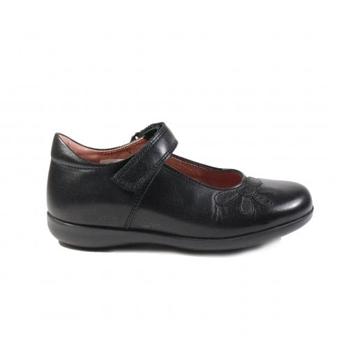 Petasil Bonnie H Width Black Leather Girls Mary Jane Rip Tape School Shoe