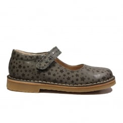 Carial Mouse Grey Leather Girls Mary Jane Shoes