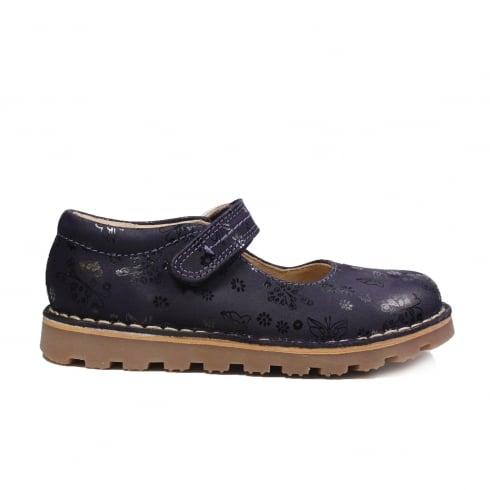 PETASIL Carial Purple Leather Girls Mary Jane Shoe