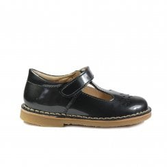 Cecily Grey Patent Leather Girls Traditional T-Bar Shoes