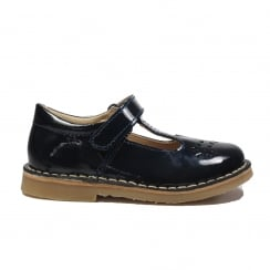 Cecily Navy Patent Leather Girls Traditional T Bar Shoe
