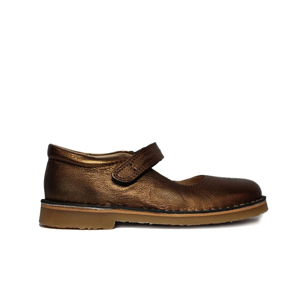 233605594bf5d Celina Gold Leather Girls Traditional Mary Jane Shoes