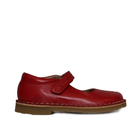 Petasil Celina Red Leather Girls Traditional Mary Jane Shoe