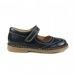 Claret Navy Leather Girls Brogue Mary Jane Shoes