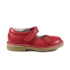 Jampus Red Leather Girls Mary Jane Shoe