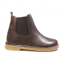 Kaz Dark Brown Leather Boys Zip Up Chelsea Boot