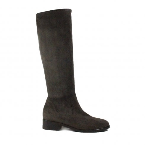 Peter Kaiser Heta Grey Suede Leather Womens Pull On Long Leg Boot