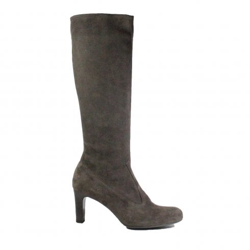 Peter Kaiser Levke Grey Suede Leather Womens Pull On Knee High Heeled Boot