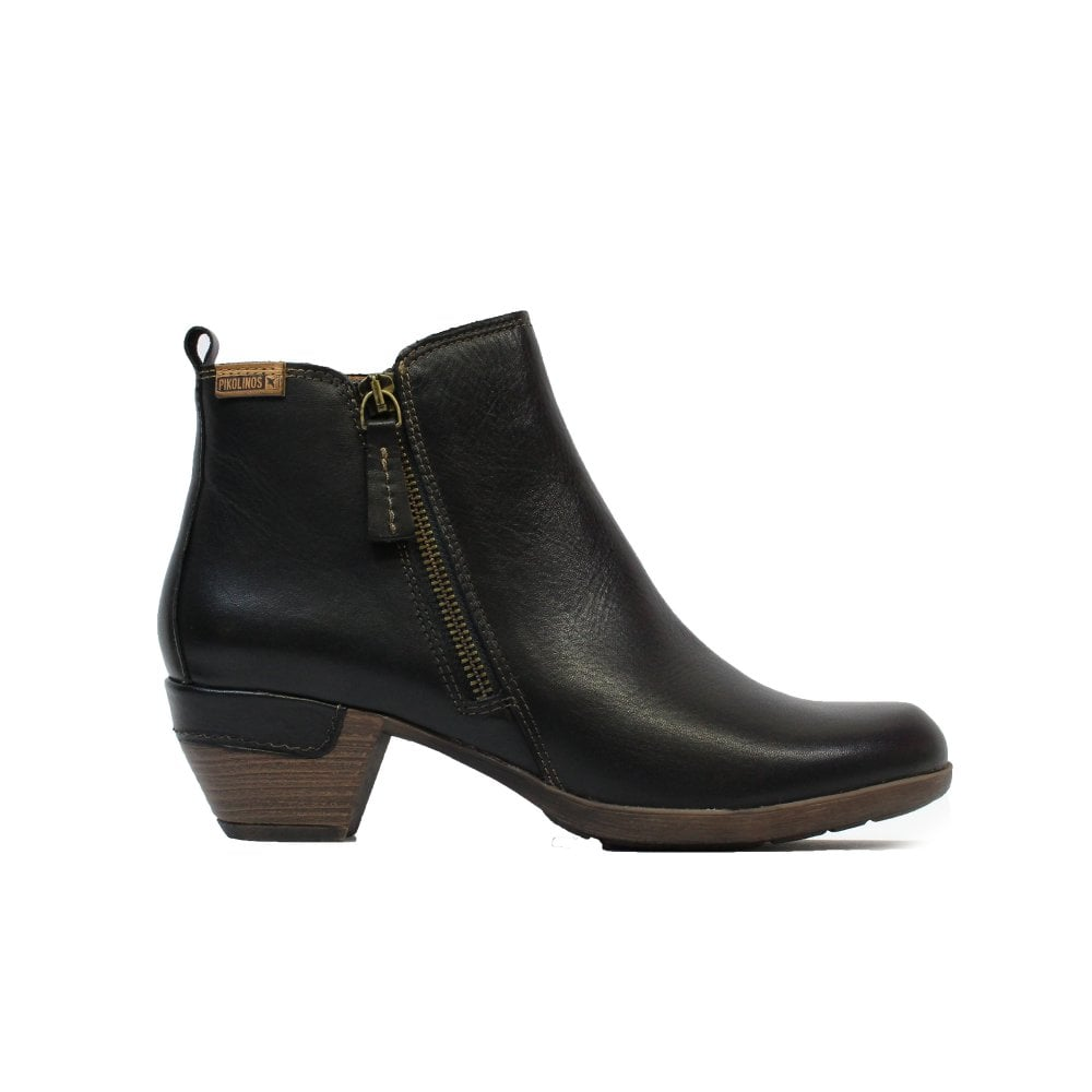 Black Leather Womens Heeled Ankle Boots