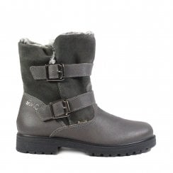 Bex 23825 Grey Suede/Leather Girls Mid Calf Boots