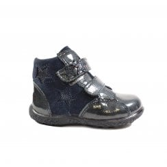 Abby Navy Nubuck Leather/Patent Leather Girls Rip Tape Waterproof Ankle Boots - UK 4