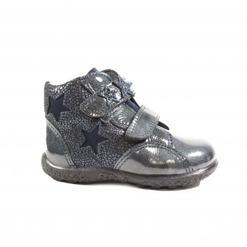 Ricosta Abby Navy Textured Leather/Patent Leather Girls Rip Tape Waterproof Ankle Boots - UK 4