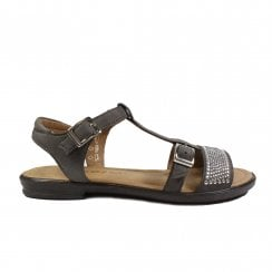 Bella 7020800-488 Grey Leather Girls Rip Tape Sandals