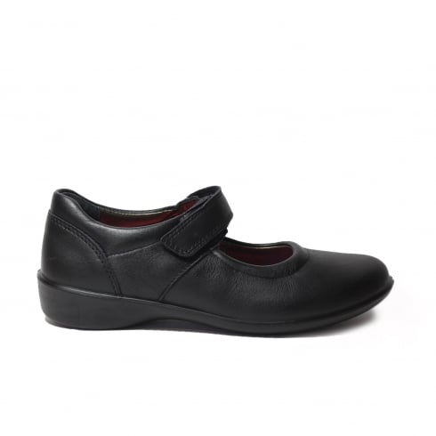 Ricosta Beth Black Leather Girls Mary Jane School Shoe