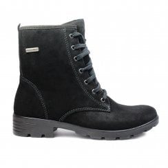 Disera 7220200-092 Black Suede Leather Girls Lace Up Ankle Boot