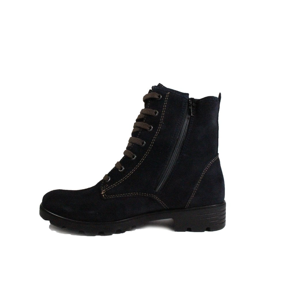 Disera 7220200,172 Navy Suede Leather Girls Lace Up Ankle Boots