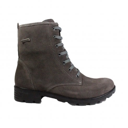 Ricosta Disera 7224100-461 Grey Suede Leather Girls Lace Up Ankle Boot