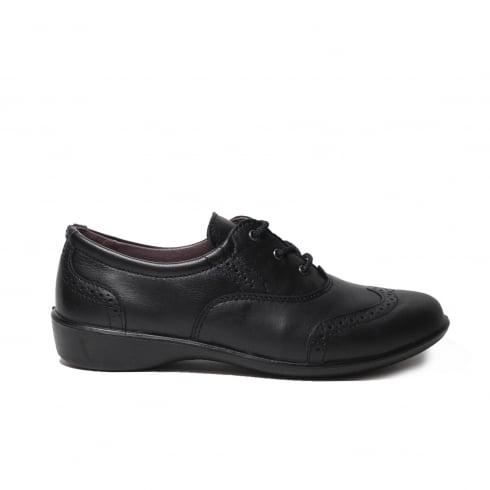 Ricosta Kate Black Leather Girls Lace Up Brogue School Shoe