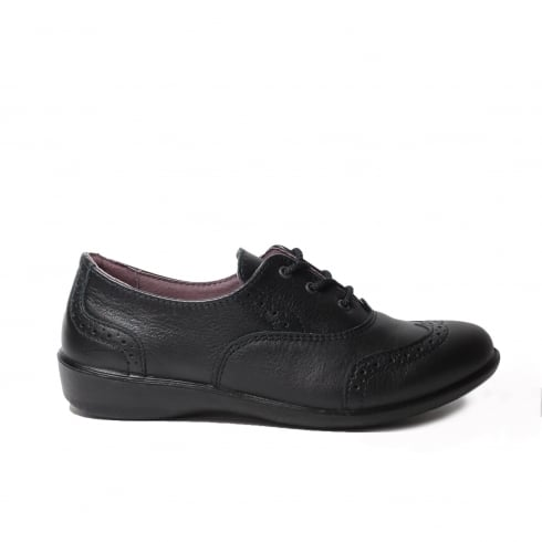 Ricosta Katie Black Leather Girls Lace Up Brogue School Shoe