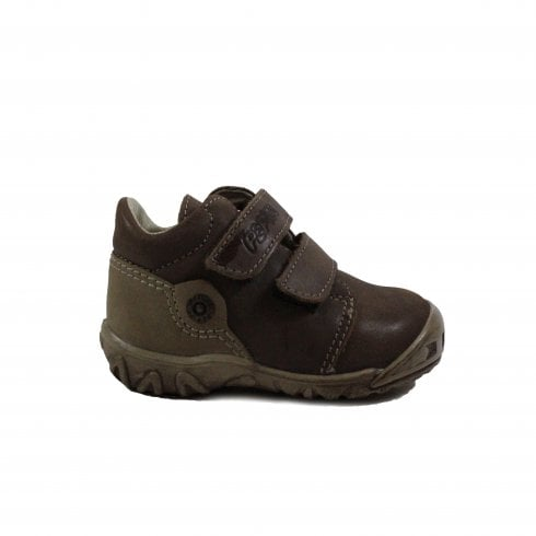 Ricosta Kubi Brown Leather Infant Boys Rip Tape Ankle Boots - UK 2