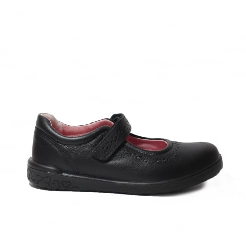 Ricosta Lillia Black Leather Girls Mary Jane School Shoe
