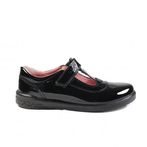 Ricosta Liza Black Patent Leather Girls T-Bar School Shoe