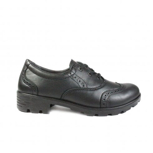 Ricosta Lucy 7221600-090 Black Leather Girls Lace Up Brogue School Shoe