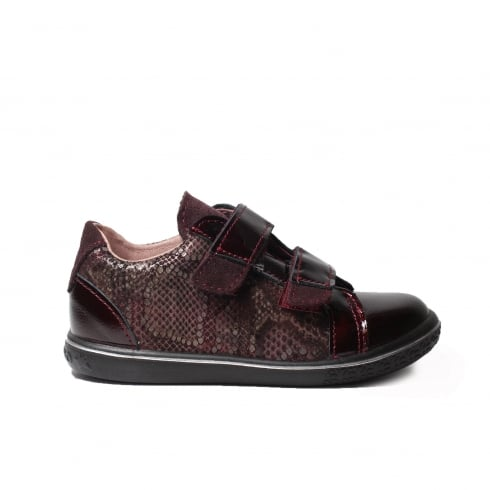 Ricosta Niddy Burgundy Textured/Patent Leather Girls Rip Tape Casual Trainer Shoe