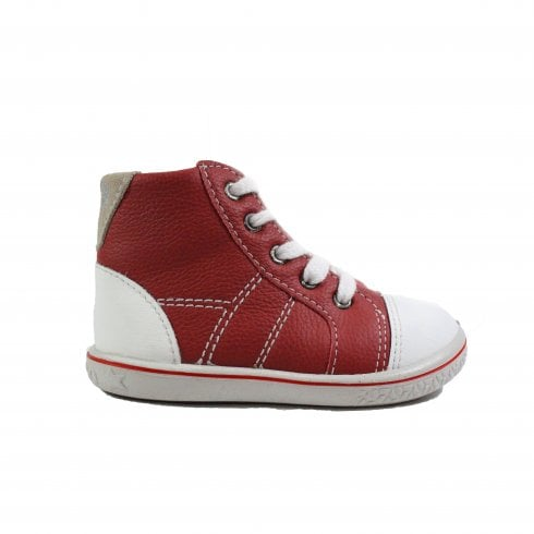 Ricosta Noppy Red Leather Boys Zip/Lace Up Ankle Boots - UK 5