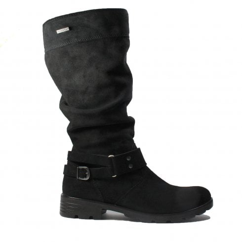 Ricosta Riana Black Suede Leather Girls Winter Long Leg Boot